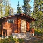 Punaruskeaseinäinen, hirsinen saunarakennus kesämaisemassa.
